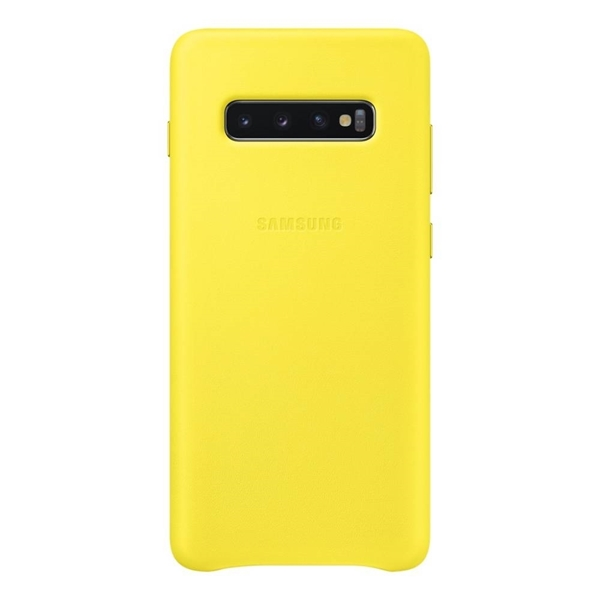 Samsung Leather Back Cover for Galaxy S10+ Plus - Yellow