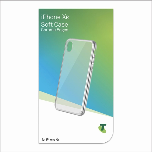 Telstra Soft Case with Chrome Edges for iPhone XR - Clear/Silver
