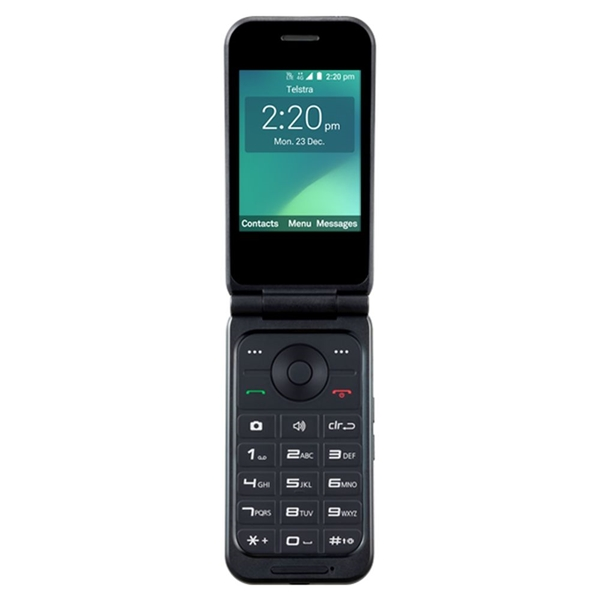 Telstra ZTE Z2335 Flip 3 (4GX, Blue Tick, Flip Phone) - Black