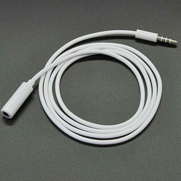 3.5mm Audio Extension Cable 4 Pole Male to Female  1M - White