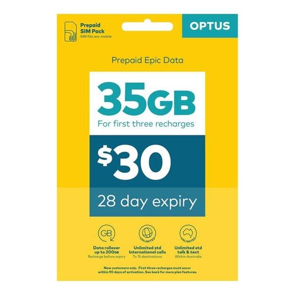 OPTUS $30 Prepaid Mobile Phone SIM