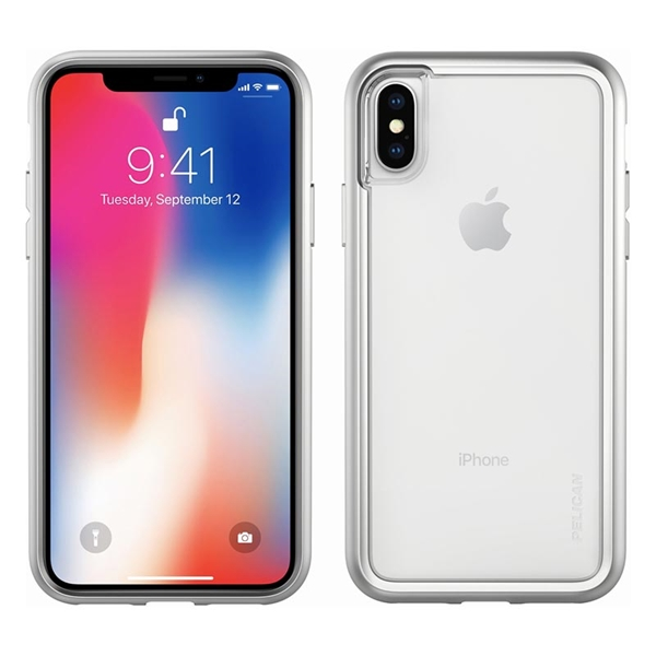 Pelican Adventurer iPhone X/XS case - Clear/Silver