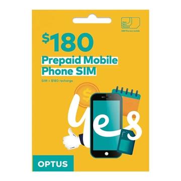 OPTUS $180 Prepaid Mobile Phone SIM - 100GB Data + Unlimited standard calls for 12 months
