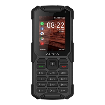 Aspera R40 (4G/LTE, IP68 Rated, Rugged Phone) - Black